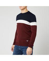 Emporio Armani 3 Tone Crew Neck Sweater - Multicolour