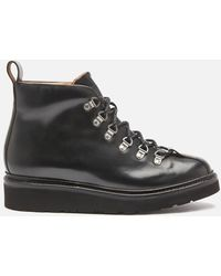 Grenson Bobby Leather Hiking Style Boots - Black