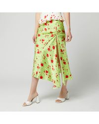 De La Vali Caroline Ruched Neon Floral-print Satin Midi Skirt - Green