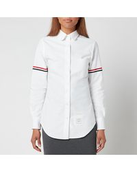Thom Browne Classic Long Sleeve Round Collar Shirt With Gg Armband - White
