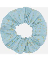 Ganni Floral Print Cotton Scrunchie - Blue