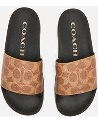 COACH Udele Coated Canvas Slide Sandals - Black