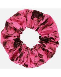 Ganni Floral Cotton Scrunchie - Pink