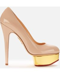 Charlotte Olympia Dolly Patent Platform Court Shoes - Pink