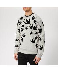 McQ Swallow Print Panelled Sweatshirt - Grey