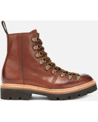 Grenson Nanette Hand Painted Leather Hiking Style Boots - Brown