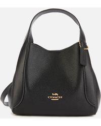 COACH Polished Pebble Leather Hadley Hobo 21 - Black