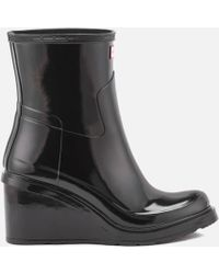 HUNTER - Women's Original Refined Mid Wedge Gloss Boots - Lyst