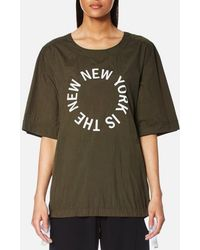DKNY - Women's Short Sleeve Logo Shirt With Side Slits And Drawcords - Lyst