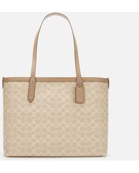 COACH Coated Canvas Signature Central Tote Bag With Zip - Natural