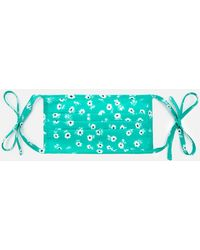 RIXO London Micro Daisy Hope Face Covering & Pouch - Blue