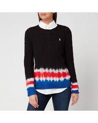 Polo Ralph Lauren Tie Dye Long Sleeve Knitted Sweater - Black