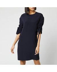 Victoria, Victoria Beckham Ruched Sleeve Dress - Blue