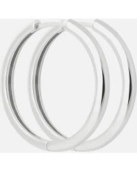 Astrid & Miyu Simple Hinge Hoops In Silver - Metallic