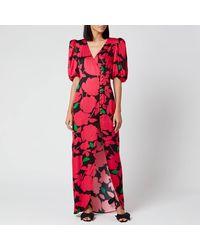De La Vali Ohio Printed Satin Long Dress - Pink