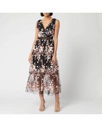 Self-Portrait Sleeveless Midnight Floral Mesh Dress - Black