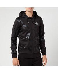 Philipp Plein All Over Logo Hooded Sweat Jacket - Black