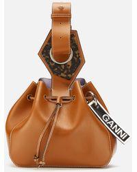 Ganni Leather Drawstring Bag - Brown