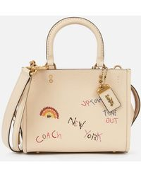 COACH Embroidered Leather Rogue Bag 25 - Natural