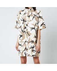 KENZO Printed Shirting Dress - White