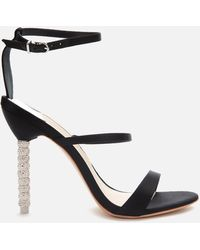 Sophia Webster Rosalind Crystal Triple Strap Heeled Sandals - Black