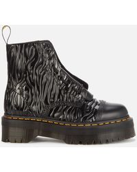 Dr. Martens Sinclair Embossed Leather Zip Front Boots - Black