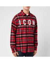 DSquared² Icon Check Shirt - Red