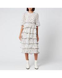 Ganni Pleated Polka Dot Georgette Midi Dress - White