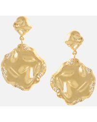 Joanna Laura Constantine Feminine Double Face Waves Pave Earrings - Metallic