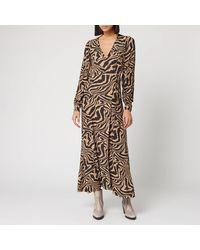 Ganni Printed Crepe Zebra Wrap Dress - Multicolour
