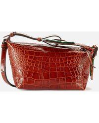 Ganni Leather Croc Bag - Red
