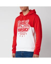 KENZO Colorblocked Tiger Icon Hoodie - Red