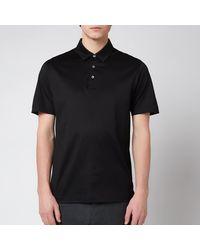 Canali Cotton Jersey Short Sleeve Polo Shirt - Black
