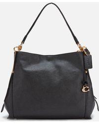 COACH Polished Pebble Leather Dalton 28 Shoulder Bag - Black