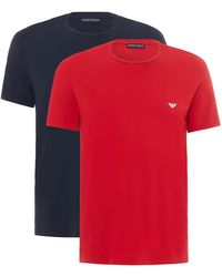 Emporio Armani Endurance 2-pack Crew Neck T-shirts - Red