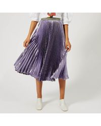 Christopher Kane Lame Pleated Skirt - Purple