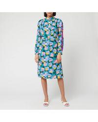 COACH Bold Geo Mock Neck Dress With Sporty Stripe - Blue
