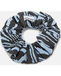 Ganni Printed Cotton Poplin Scrunchie - Multicolor