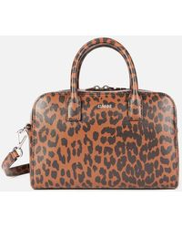Ganni Leopard Print Top Handle Bag - Brown