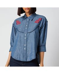 See By Chloé Chambray Frill Collar Shirt - Blue