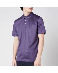 Canali Jersey Button Up Polo Shirt - Purple
