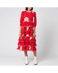 Ganni Floral Pleat Georgette Midi Dress - Red