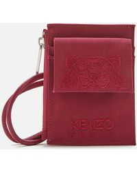 KENZO Kampus Canvas Cardholder On Strap - Red
