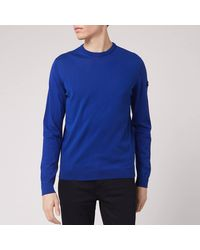Emporio Armani Sleeve Logo Knitted Jumper - Blue