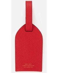 Smythson Panama Luggage Tag - Red