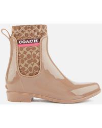 COACH Rivington Signature Knit Rain Boots - Natural
