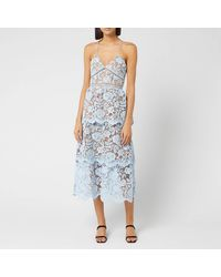 Self-Portrait Flower Lace Midi Tiered Dress - Blue