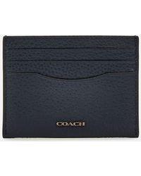 COACH Pebble Leather Card Case - Blue