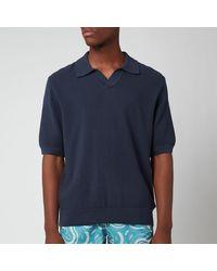 Frescobol Carioca Rino Cotton Silk Blend Polo Shirt - Blue
