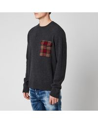 DSquared² Check Pocket Knitted Sweater - Gray